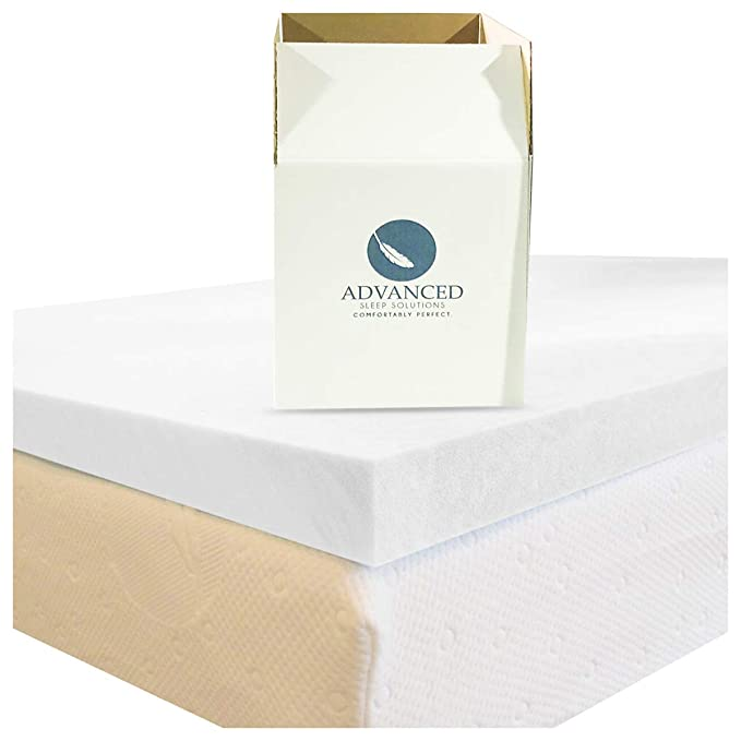 Advanced Sleep Solutions Queen Memory Foam Mattress Topper | Our 2 Inch Memory Foam Topper Queen Size is Made in the USA, Certipur-US Certified Mattress Toppers