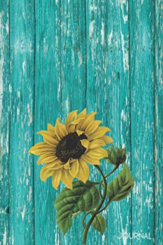 Journal: Rustic Sunflower Blank Lined Notebook | Decorated Interior