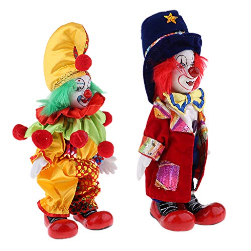 CUTICATE 2pcs 18cm Porcelain Clown Doll with Beautiful Outfit and Ceramic Face, Gift for Clown Lover or Doll Collector, Halloween Props, Home Office Decor ()