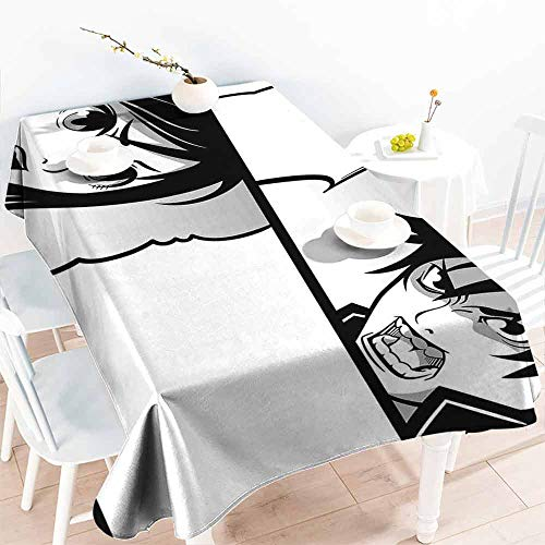 HCCJLCKS Stain-Resistant Tablecloth Anime Japanese Comics Strip with Boy and Girl Fight Scene Manga Image Cartoon Print Soft and Smooth Surface W52 xL70 Black White Gray