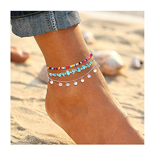 (YAHPERN Anklets for Women Girls Color Beads Turquoise Drop Sequin Charm Adjustable Ankle Bracelets Set Boho Multilayer Beach Foot Jewelry (Silver))