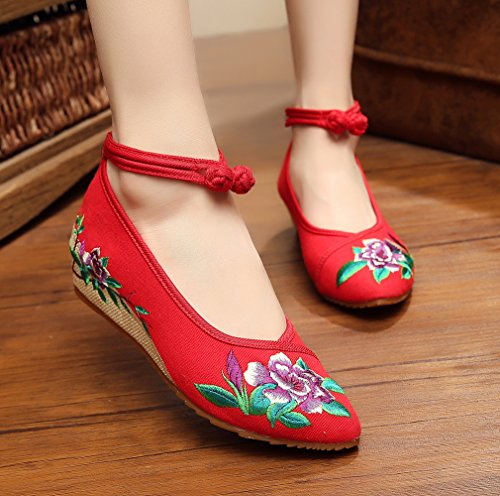 Old Sole Shoes Toe Cheongsam Point Red Embroidery and Women Beijing AvaCostume Purple Rubber 5UqHOH