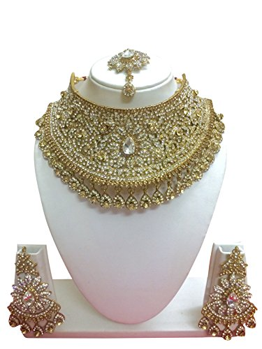 - CROWN JEWEL Indian Bollywood Style Fashion Gold Plated Bridal Jewelry Necklace Earring Set For Women (Gold)
