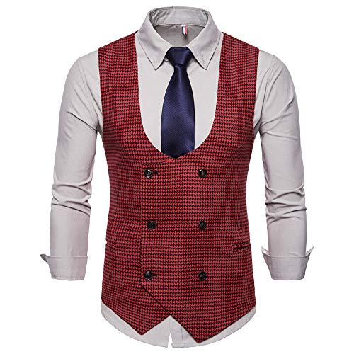 SMALLE ◕‿◕ Clearance,Men Plaid Button Casual Print Sleeveless Jacket Coat British Suit Vest Blouse by SMALLE (Image #2)