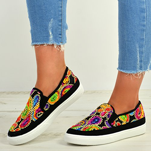 Sneaker Plimsolls Trainers Size on Embroidered Black Slip New Ladies Flat Womens Shoes xqOZYXF