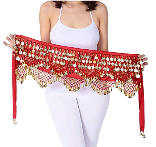 Gypsy Coin Skirt Belly Dance Hip Scarf Red Dance Scarfs Gold Coin Skirts -
