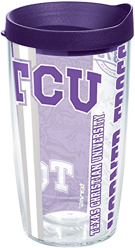 Tervis 1219931 TCU Horned Frogs College Pride Tumbler with Wrap and Royal Purple Lid 16oz, Clear (Christian Texas University)