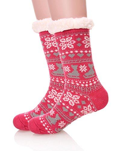 Bright Stripe Fleece (EBMORE Women's Home Fuzzy Soft Warm Winter Snowflake Fleece Slipper Crew Socks (Rose Red))