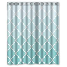 "60""(Width) x 72""(Height)Stylish Lovely Teal Fade Moroccan Tile Quatrefoil Pattern Bathroom Shower Curtain Shower Rings Included, 100% Polyester (New Polyester) - Comfortable Life Bathroom Exclusive"