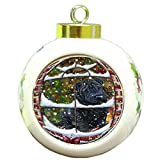 Please Come Home For Christmas Shar Pei Dog Sitting In Window Round Ball Christmas Ornament RBPOR48428