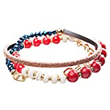 Accessoriesforever Beautiful Stone Bead Tribal Bohemian Statement Wrap Fashion Bracelet B447 Red
