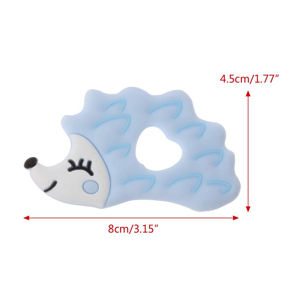 Cuigu Jouets de Dentition pour B/éb/é Sans BPA Forme de H/érisson Forme de B/éb/é Anneau de Dentition Anneau en Silicone Perles Bricolage Rose