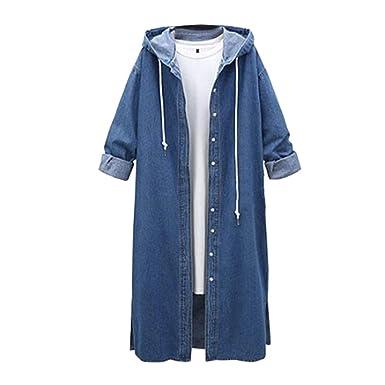 599ac6bb3f2c3 Manteau en Denim Femme Long, Dames Casual Manche Longue Hoodie Veste en Jean  Outwear à