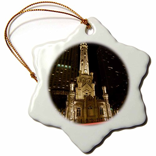 3dRose orn_90158_1 Illinois Chicago Water Tower on Michigan Avenue Jaynes Gallery Snowflake Decorative Hanging Ornament, Porcelain, - Tower Water Chicago