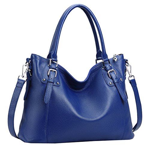 Heshe Women's Leather Handbags Shoulder Tote Bag Top Handle Bags Satchel Designer Ladies Purses Cross-body Bag (LBlue) - Metal Handle Bag
