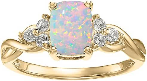 10K Yellow Gold, Simulated White Opal and White Topaz Cushion Ring