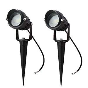 LAVAED 10W LED Landscape Lights 12V Pathway Spotlights Warm White Waterproof Lighting (2 Pack)