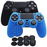 YoRHa Studded Silicone Cover Skin Case for Sony PS4/slim/Pro controller x 2(black+blue) With Pro thumb grips x 8