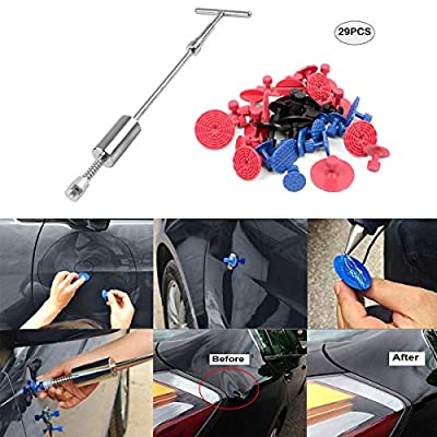 WHDZ 45PCS Car Dent Repair Tools Dent Puller Paintless Removal Kit PDR Puller Grip PRO Slide Hammer Tool Glue Puller Tabs for Vehicle SUV Car Auto Body Hail Damage Removal: Automotive