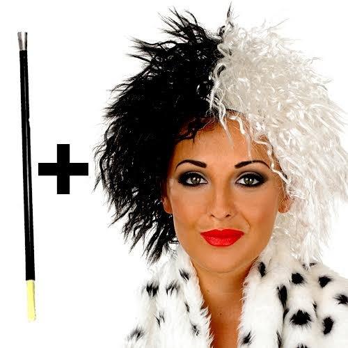 Traje De neopreno para mujer colores blanco y negro Cruella De Vil Ville peluca villano disfraz