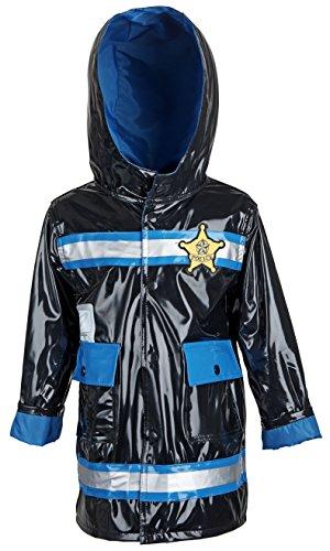 Wippette Baby Boys Waterproof Vinyl Fully Lined Hooded Police Rain Jacket - Black (12 Months)