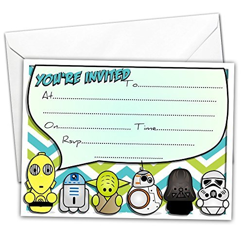 20 x Glossy Party Invitations Inspired by Star Wars with 20 x Envelopes for Kids Birthday Yoda Darth Vader R2D2 any occasion eg birthday by All-Ways Design (Any Invitation Design)