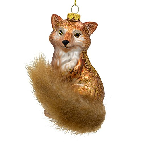 (BestPysanky Wild Fox with Artificial Tail Glass Christmas Ornament 4.75 Inches)