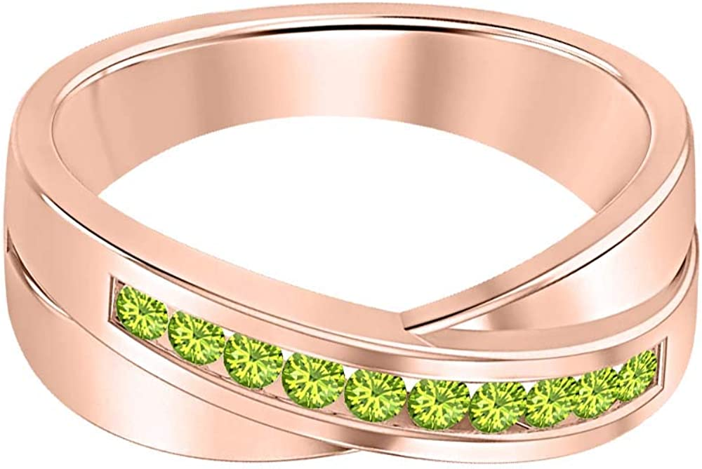 SVC-JEWELS 14K Rose Gold Over 925 Sterling Silver Round Cut Green Peridot Criss Cross X Wedding Band Ring Men