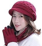 Winter Hat Gloves Scarf Set for Women Visor Snow Knit Skull Cap Infinity Scarves Touch Screen Mittens Burgundy