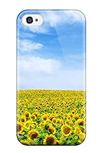 New Style Iphone 4/4s Hybrid Tpu Case Cover Silicon Bumper Sunflower Landscape 7178120K54426266