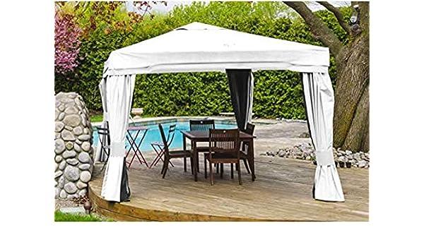 Enrico Coveri Garden - Cenador Grande 3 x 3 con mosquitera Blanca, con Tejido Impermeable y Estructura de Acero, Fiestas, decoración jardín y Exterior: Amazon.es: Jardín