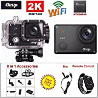 GitUp Git2 Novatek 96660 1080P WiFi 2K Sport Helemet Camera (Add 8in1 Accessories and Mic and Remote Control)