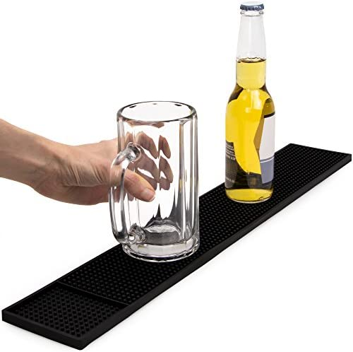 Bar Runner Rubber Strip Spill Mat Black Home Cocktail Party Pub 30x15cm 2pcs