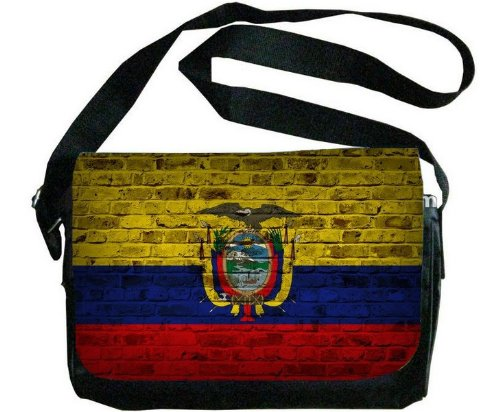 エクアドル国旗レンガ壁デザインメッセンジャーバッグ   B00F1YCK2G