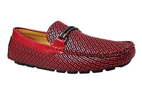 scarpe shoes in man's estivi ecopelle casual Mocassini eleganti uomo rosso wRU0g6q