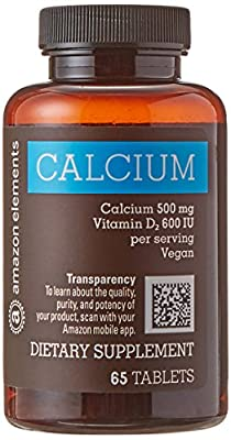 Amazon Brand - Amazon Elements Calcium 500mg plus Vitamin D, One Daily, 65 Tablets, 2 month supply