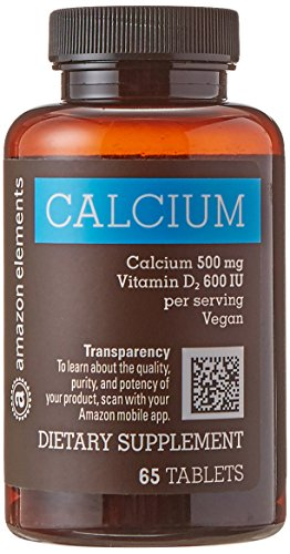 Amazon Elements Calcium 500mg plus Vitamin D, One Daily, 65 Tablets