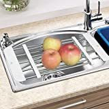 Sink Dish Drying Rack,Sink Drain Rack Pool Retractable Shelves Pontoon Drying Dishes Dink Stainless Steel Drain Shelf