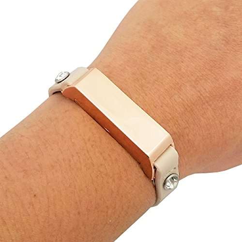 Fitbit Bracelet for Fitbit Flex 2 Fitness Trackers - The KATE Single-Strap Studded Leather Fitbit Bracelet - Alternative to Tory Burch Fitbit (Beige & Rose Gold Crystal, - Similar Burch Tory To