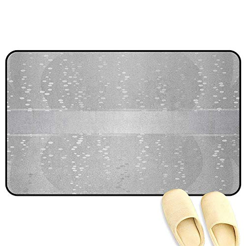 Border Big Bold (homecoco Grey Microfiber Absorbent Bath Mat Vertical Wavy Lines with Festive Little Dots and a Bold Border Christmas Celebration Silver White 3D Digital Printing Mat W47 x L59 INCH)