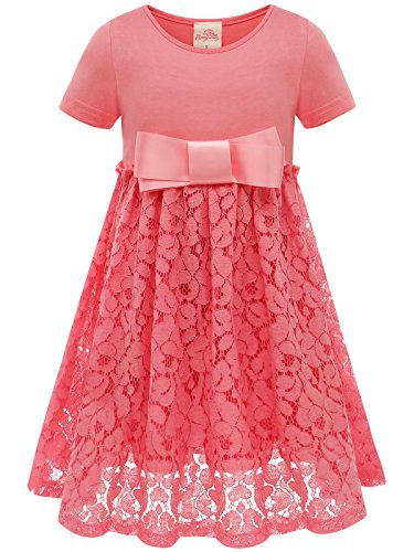 Bonny Billy Girl's Easter Lace Dress Back to School Teens Clothes Size 10-12 Living Coral -