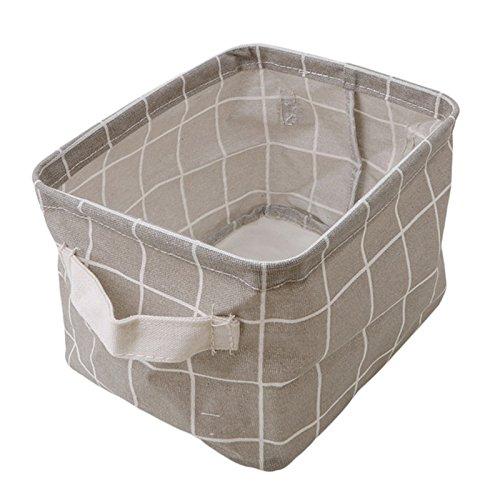PING.FUE Cute Printing Cotton Linen Office Desktop Organizer Sundries Box Cabinet Underwear Storage Basket 4