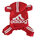 #4: Scheppend Adidog Pet Clothes for Dog Cat Puppy Hoodies Coat Winter Sweatshirt Warm Sweater,Red Medium