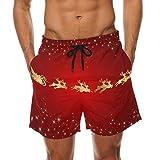 DEYYA Red Background with Santa Summer Beach Shorts Pants Men's Swim Trunks Board Short for Men