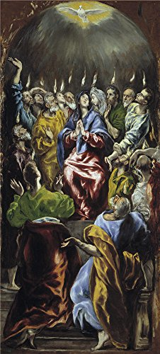 - 'El Greco Pentecost 1596 1600 ' Oil Painting, 12 X 27 Inch / 30 X 67 Cm ,printed On Perfect Effect Canvas ,this Cheap But High Quality Art Decorative Art Decorative Prints On Canvas Is Perfectly Suitalbe For Powder Room Artwork And Home Decoration And Gifts