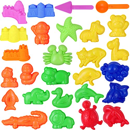 TOYMYTOY Kids Beach Toys Sand Play Toys Sand Models Set - Safari Animals, Sea Creatures, Mini Castles, Tools Kit - Summer Outdoor Fun