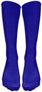 Kotdeqay DARK BLUE24 Men Hip-hop Unisex Athletic high Knee Long Cotton Stockings Breathable Compression Socks