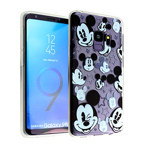 Galaxy S9 Case Mickey Mouse Faces,DURARMOR FlexArmor Rubber Flexible Bumper Shockproof Ultra Slim TPU Case Drop Protection Cover for Galaxy S9- Mickey Mouses Face