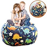 Brolex Extra Large 38'' Stuffed Animals Bean Bag Chair Cover-100% Cotton Canvas Kids Toy Storage Zipper Bags Comfy Pouf for Unisex Boys Girls Toddlar, Dinosaur Print