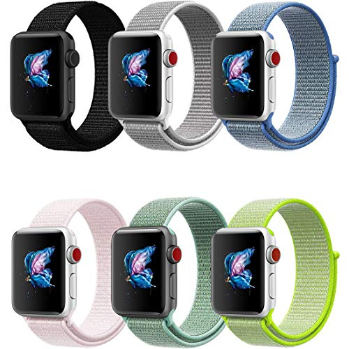 QIENGO Compatible with Apple Watch Band 42MM, 6 Pack, Nylon Sport Loop Hook Loop, Fastener Adjustable Closure, Replacement Band Compatible with iWatch Series 1/2 / 3
